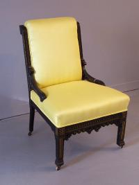 Egyptian Revival black lacquered side chair c1870
