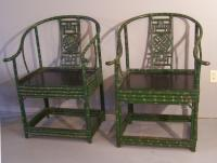 Chinese Chippendale style horseshoe back armchairs