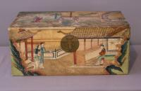 Chinese handpainted pigskin leather trousseau covered box