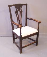 English Period Country Chippendale oak arm chair c1780