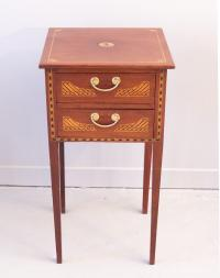 New England Hepplewhite Period mahogany two drawer stand