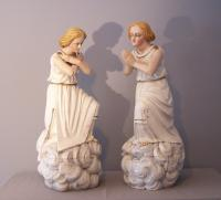 19th c. French hand carved  painted wood figures of angels 1860