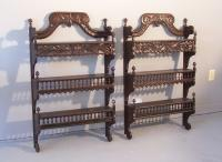 Pair French Provincial 3 tier wall shelves or etageres c1840