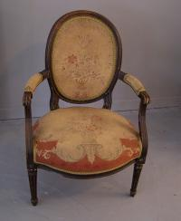 19th c French faux bois painted open arm chair