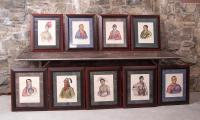 9 framed hand colored lithographs of American Indians by McKenny-Hall