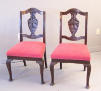 Pair Anglo Scottish oak side dining chairs 1860