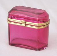 19th c. hand blown cranberry glass hinged casket box