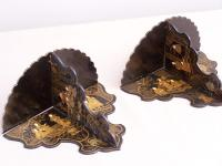 Pair Chinese black lacquered, folding wall brackets