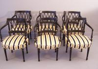 Set of six black lacquered armchairs in the Regency style