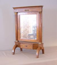Italian 18th c Directoire Period fruitwood vanity cheval mirror
