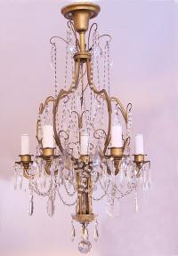 Louis XV style gilt brass and crystal 6 light chandelier