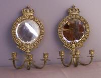 Early English brass 3 light, mirrored wall sconces c1800
