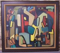 French Abstract Modern Art oil on canvas by Millou c1950