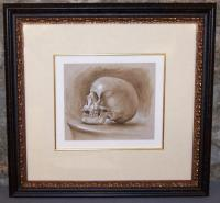 Skull study with ink wash and white highlighting in grisaille. c1885