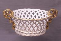 Edouard Honore Paris Reticulated porcelain gold bowl c1850