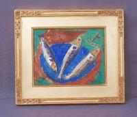 Theo Hios painting of fish  acrylic on canvas over board