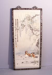 Chinese 19thc silk embroidery of waterfowl among wisteria