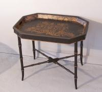 English 19th c. rectangular shaped tole pierced rim tray on stand