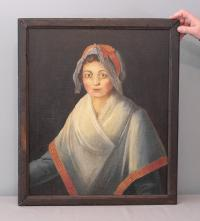 French School 18th c. oil painting on canvas of young maiden
