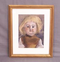 Doll watercolor by Sylvia Koller Austrian c1919