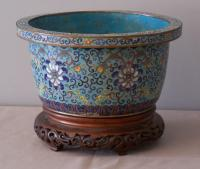 Chinese cloisonne cachepot c1800
