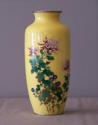Japanese Ando cloisonne tall vase with royal chrysanthemum