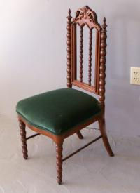 Gothic Revival walnut and walnut veneer childrens chair