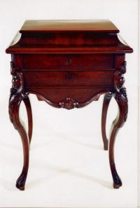 New York mahogany and satinwood sewing work table c1840