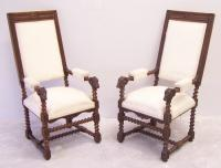 Pair of rams head upholstered arm chairs Flemish 19thc
