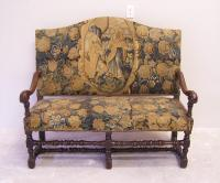 17thc Louis XIII walnut and tapestry settee c1680