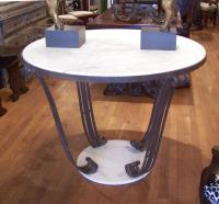 French Art Deco white marble top table on iron base c1920