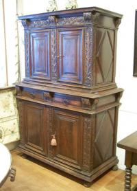 16th C French carved oak cupboard with doors