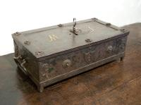 Early German strongbox with brass initials 17th to 18th c
