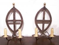 Pair 19th century iron wall sconces