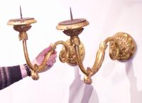 Pair of Italian gilt wood  arm sconces 18th century