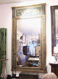 Large French green painted mirror with gilt c1790