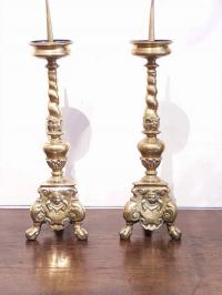 Pair brass twist column candlesticks with tripod bases c1700