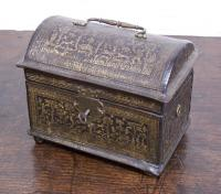 16th century Flemish leather hand tooled box with drawer
