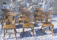Period American country painted plank seat chairs c1830