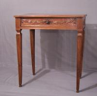 Louis XVI walnut side table with carving c1800