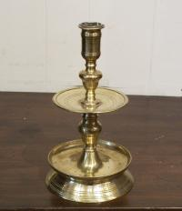 Single two tier 17thc Flemish brass candlestick