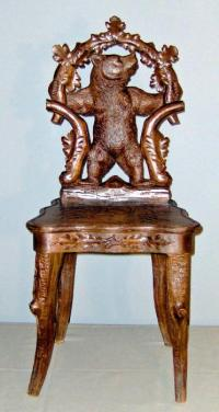 Black Forest Bear Figure Music Chair c1890