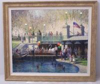 American impressionist oil on canvas of Boston Commons  by John Terelak