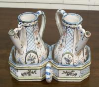 18th century French ceramic faience oil vinegar set