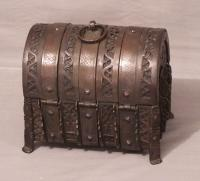 16th century French iron dome top casket travel box