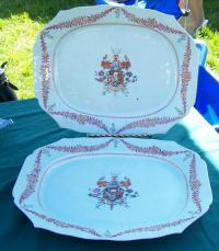 Pair of Chinese export armorial porcelain platers c1790