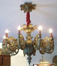 19th century brass ceiling fixture converted from gas to electricity c1860
