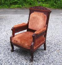 Daniel Pabst Victorian carved upholstered arm chair c1880