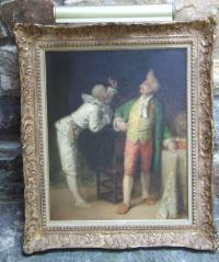 French oil on board operatic scene with clown and gentleman