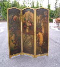 Three panel oil on canvas Victorian screen room divider c1880